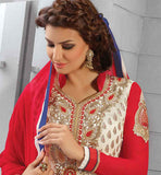 CREAM PARTY WEAR SALWAR SUIT WITH NAZNEEN ODHNI