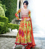 DESIGNER PRINTED PARTY WEAR BRIGHT COLORS ANAKALI DRESS WITH DUPATTA