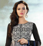 GORGEOUS GREY FLORAL PRINTED GEORGETTE PARTY WEAR ANARKALI