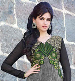 EYE-CATCHING GREY PARTY WEAR ANARKALI DRESS WITH PURE CHIFFON DUPATTA