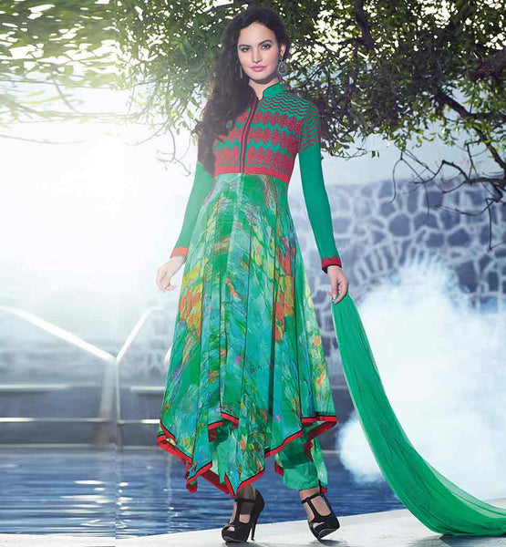 FANCY 2015 PATTERN GEORGETTE PARTYWEAR ANARKALI SALWAR KAMEEZ SUITS