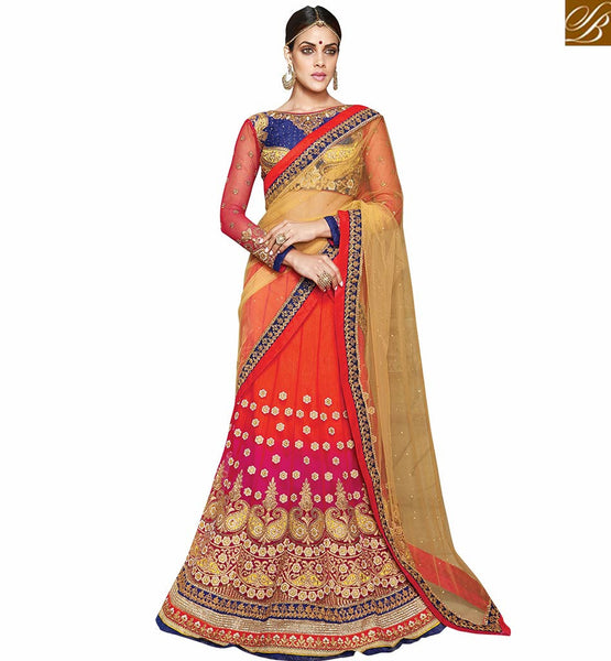 STYLISH BAZAAR PRESENTS STUNNING BLUE AND RED LEHENGA CHOLI DESIGNER SAREE VDKHA705