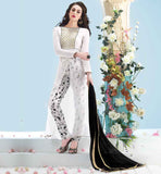 BOAT NECK DESIGNS SALWAR KAMEEZ FOR INDIAN WOMEN LATEST PATTERN OFF WHITE GEORGETTE DRESS WITH PRINTED SANTOON SALWAR