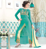GOOD NECK DESIGNS FOR SALWAR KAMEEZ DRESS EXCELLENT PARTY WEAR SUIT WITH EMBROIDERY WORK ON NECKLINE