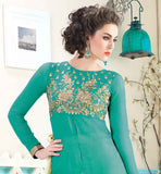 EXCELLENT PARTY WEAR SUIT WITH EMBROIDERY WORK ON NECKLINE GEORGETTE GREEN TOP WITH CONTRAST CREAM EMBROIDERED SALWAR AND CREAM DUPATTA