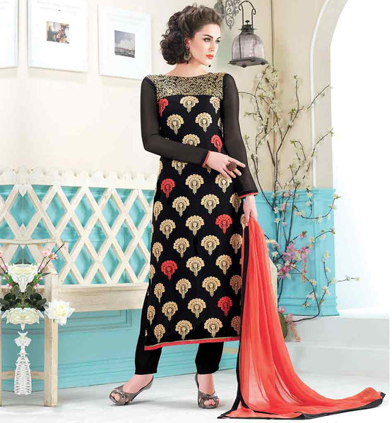 MACHINE EMBROIDERY DESIGNS FOR SALWAR KAMEEZ STRAIGHT CUT BLACK GEORGETTE MATERIAL DRESS WITH MATCHING SALWAR AND ORANGE ODHNI