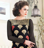 STRAIGHT CUT BLACK GEORGETTE MATERIAL DRESS WITH MATCHING SALWAR AND ORANGE ODHNI PARTY WEAR SUIT WITH NICE DESIGNING ON THE TOP AND TRENDY NECKLINE