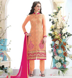 PAKISTANI SALWAR KAMEEZ DESIGNS INSPIRED FASHION ORANGE FULL SLEEVE EMBROIDERED TOP WITH MATCHING SALWAR AND PINK DUPATTA
