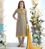 NEW SALWAR KAMEEZ DESIGNS 2015 FOR INDIAN WOMEN GREY COLOR GEORGETTE MATERIAL SUIT WITH GREY COLOR SANTOON FABRIC BOTTOM & YELLOW COLOR HEAVY NAJNEEN FABRIC LACE BORDER ODHNI