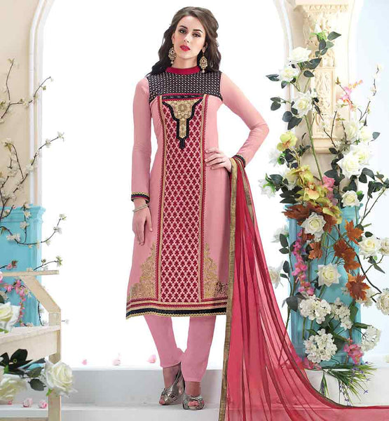 PAKISTANI DESIGNER SALWAR KAMEEZ HIGH NECK STYLE DAZZLING DUSTY PINK GEORGETTE KAMEEZ WITH RICH EMBROIDERED YOKE