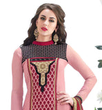 DAZZLING DUSTY PINK GEORGETTE KAMEEZ WITH RICH EMBROIDERED YOKE  STRAIGHT CUT PARTY WEAR DRESS COMES WITH MATCHING SALWAR AND DUPATTA