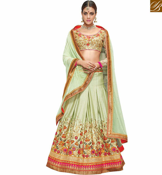 STYLISH BAZAAR INTRODUCES SPECTACULAR GREEN LEHENGA BLOUSE DESIGNER WEAR VDKHA706