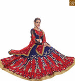 STYLISH BAZAAR PRESENTS REMARKABLE BLUE AND RED 3 PIECE LEHENGA CHOLI VDKHA707