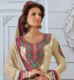 SUPERB CREAM STRAIGHT PATTERN SALWAR KAMEEZ WITH MATCHING DUPATTA
