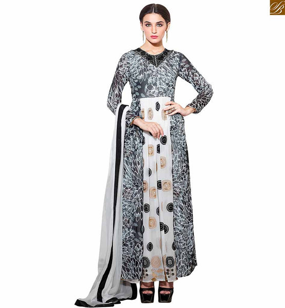 TRENDY INDIAN SALWAR KAMEEZ 2015 BEST STYLISH NECK DESIGNS FOR SUITS ONLINE SHOPPING  Off-White and Grey Georgette Top With off-White Bottom With Matching Pure Chiffon Dupatta.