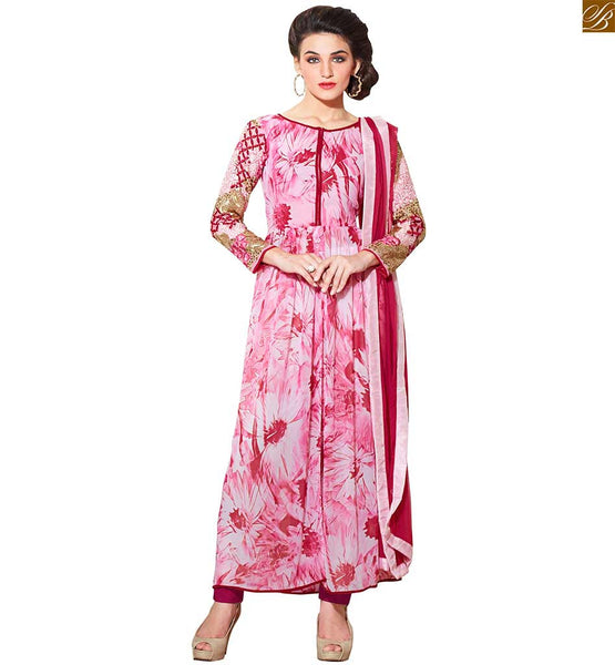 IMPRESSIVE LOOKING SALWAR KAMEEZ NECK DESIGNS WITH LACES NEW DRESS PATTERN OF HIGH-FASHION FOR LADIES | Pink Georgette Amazing Printed Top with Rani Salwar & Combo Pure Chiffon Dupatta