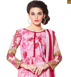 Pink Georgette Amazing Printed Top.with (Dark-Pink) Rani Salwar Combo with Pink and Rani Pure Chiffon  Dupatta with Border Work. Santoon Inner is also Included.