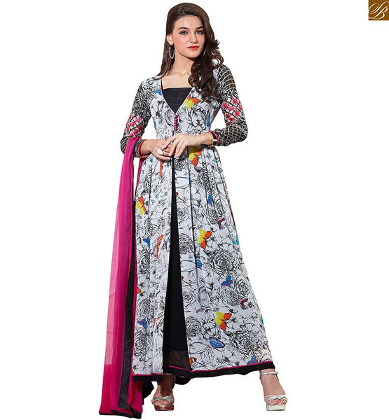ELEGANT COMBO OF EMBROIDERY PATTERNS AND PRINTED SALWAR KAMEEZ LATEST DESIGNS LOOK LIKE V-NECK GOWN WITH LONG SLEEVE  Multicolored Vivid Designer Printed Georgette Kameez With Embroidered Sleeve. Suit Set Consists Black Bottom and Pink Pure Chiffon Bordered Dupatta