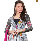 Multicolored Vivid Designer Printed Georgette Kameez With Embroidered Sleeve. Suit Set Consists Black Bottom and Pink Pure Chiffon Bordered Dupatta