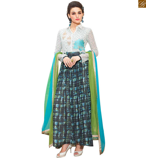 Collar Type Embroidered Top with Black Bottom & Green and Sky Blue Pure Chiffon Lace Bordered Dupatta