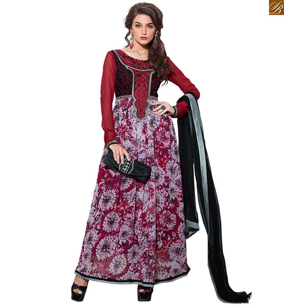 Pakistani Long Kameez Salwar Designs Of Pakistani Fashion Dresses Off White, Maroon And Magenta Georgette Embroidery Work On Neck And Printed On Lower Part Top. With Magenta Santoon Bottom And Black Pure Chiffon Dupatta Is Also Included Along With Inner