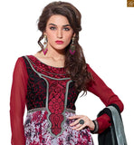 Off White, Maroon And Magenta Georgette Embroidery Work On Neck And Printed On Lower Part Top. With Magenta Santoon Bottom And Black Pure Chiffon Dupatta Is Also Included Along With Inner Pakistani Long Kameez Salwar Designs Of Pakistani Fashion Dresses