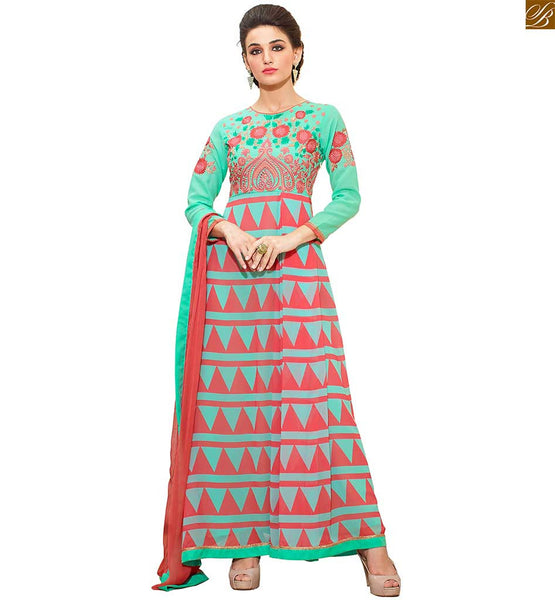 Salwar Kameez Pattern Of Print And Emroidery On  Dress Neck Designs Green Triangular Pattern Georgette Embrodered Top. With Green Santoon Bottom. Peach Pure Chiffon Border Work Dupatta With Santoon Inner Completes The Suit.
