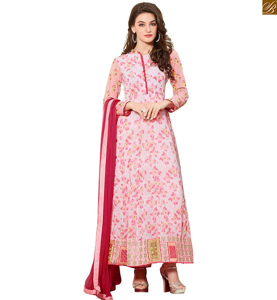 Dusty Pink Georgette Printed Top With Matching Bottom & Rani Pure Chiffon Bordered Dupatta to Enhances The Look of Ladies Suit