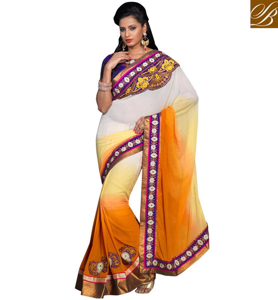 FANCY INDIAN DESIGNER PURE GEORGETTE SAREE AND DUPION BLOUSE PIECE