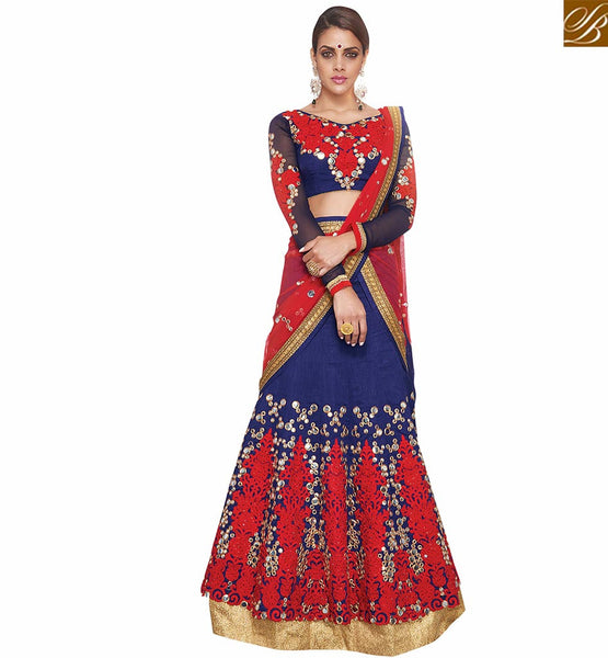 BROUGHT TO YOU BY STYLISH BAZAAR REMARKABLE BLUE AND RED 3 PIECE LEHENGA CHOLI VDKHA707