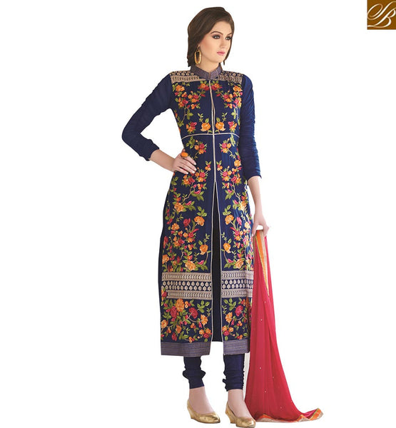 A STYLISH BAZAAR PRESENTATION STRIKING DESIGNER SALWAR STRAIGHT CUT SUIT DESIGN VDNIM707