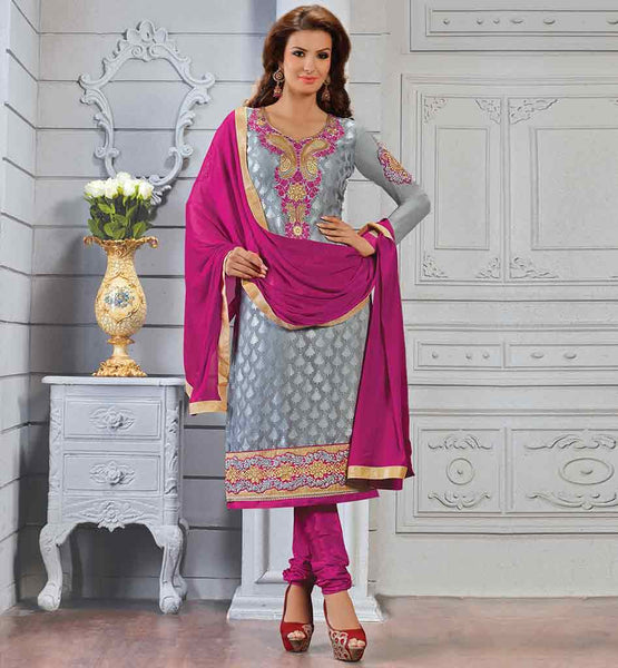 LONG STRAIGHT CUT SALWAR KAMEEZ SUIT WITH EMBROIDERED NECK AND SLEEVE