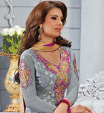 STRAIGHT CUT LONG KAMEEZ WITH CHURIDAR SALWAR AND CONTRAST DUPATTA