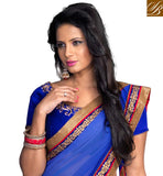EYE-CATCHING BLUE WEDDING WEAR SAREE WITH MATCHING BLOUSE