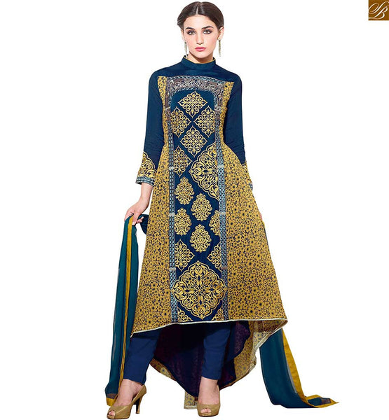 STYLIST MODERN SALWAR KAMEEZ SUIT DESIGNS OF LATEST SHAPE AND HIGH LOW CUT FOR SMART LOOK AT AFFORDABLE PRICE AVAILABLE ONLY ONLINE, Georgette Embroidered Designer Top & Bottom