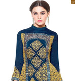 STYLIST MODERN SALWAR KAMEEZ SUIT DESIGNS OF LATEST SHAPE AND HIGH LOW CUT FOR SMART LOOK AT AFFORDABLE PRICE AVAILABLE ONLY ONLINE, Georgette Embroidered Designer Top & BottomBlue And Mustard Georgette Embrodered Modern Designer Top With Blue Santoon Bottom Modern Salwar Kameez Suit Designs Of Latest Shape And High Low Cut