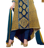 Blue and Mustard Georgette Embroidered Designer Top With Blue Bottom