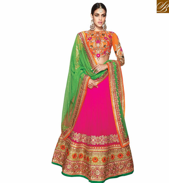 A STYLISH BAZAAR PRESENTATION GRACEFUL PINK AND ORANGE LEHENGA BLOUSE VDKHA708
