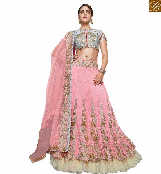 A STYLISH BAZAAR PRESENTATION SPELL BINDING PINK AND GREY GHAGHRA BLOUSE DESIGN VDKHA709