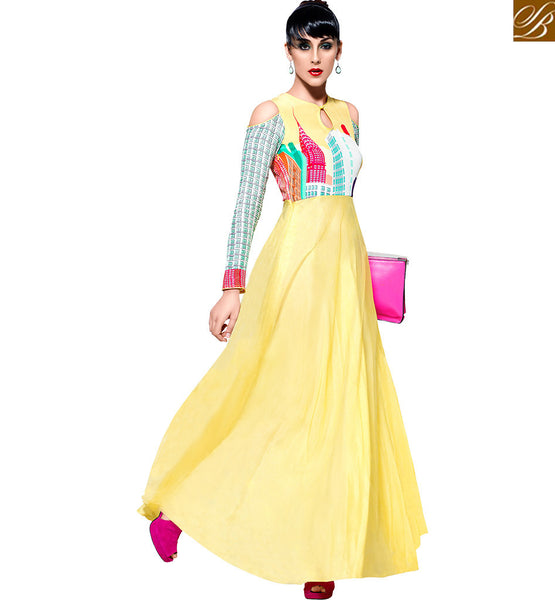 STYLISH BAZAAR ATTRACTIVELY DESIGNED FLORAL PRINT GOWN VDBLU7102