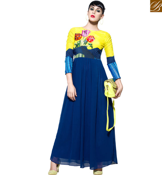 APPEALING DESIGNER PRINTED GOWN VDBLU7104 NANY BLUE