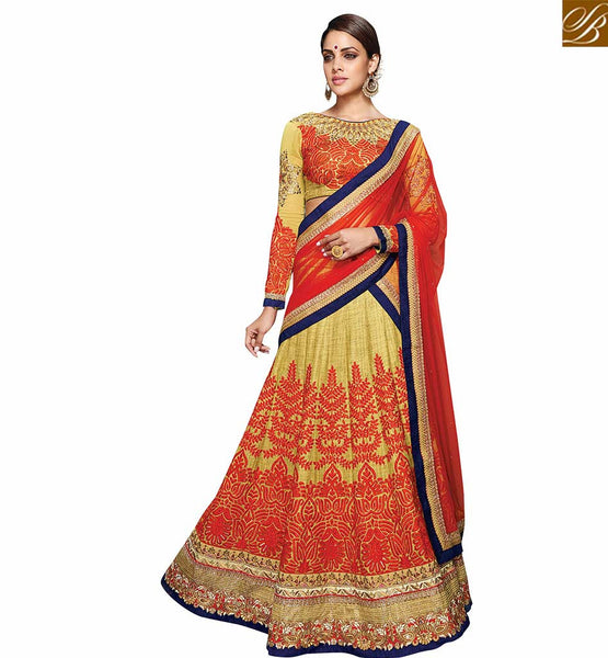 STYLISH BAZAAR CLASSY MUSTARD AND RED LEHENGA CHOLI DESIGN VDKHA710