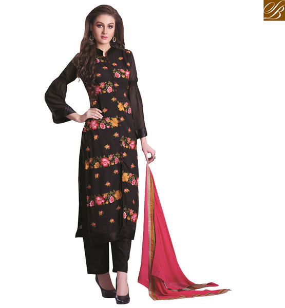 A STYLISH BAZAAR PRESENTATION OUTSTANDING BLACK EMBROIDERED SALWAAR KAMEE PATTERN VDNIM710