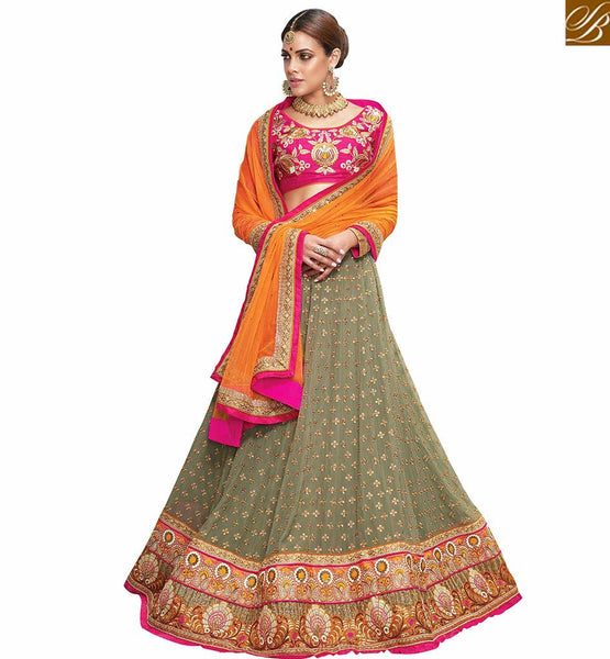 FROM THE HOUSE  OF STYLISH BAZAAR SOPHISTICATED 3 PIECE GREY AND PINK LEHENGA BLOUSE VDKHA711