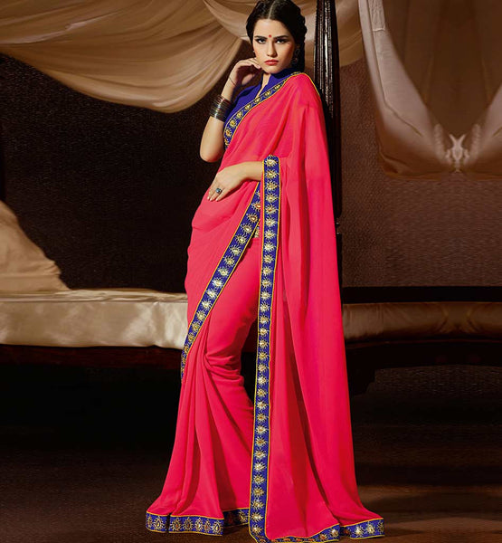 PINK GEORGETTE CASUAL WEAR SAREE RTAH714