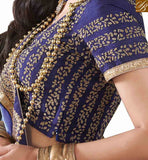 STYLISH BAZAAR SPARKLING PARTY WEAR BLUE SARI BLOUSE DESIGN RTVID7151