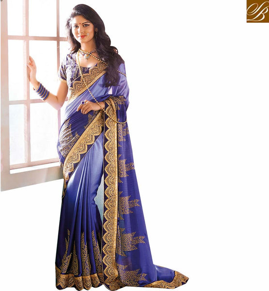 A STYLISH BAZAAR PRESENTATION SPARKLING PARTY WEAR BLUE SARI BLOUSE DESIGN RTVID7151