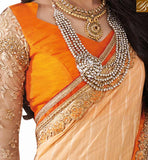 ORANGE EMBROIDERED DESIGNER SAREE RTVID7152BROUGHT TO YOU BY STYLISH BAZAAR