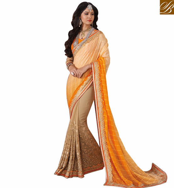 FROM STYLISH BAZAAR ORANGE EMBROIDERED DESIGNER SAREE RTVID7152