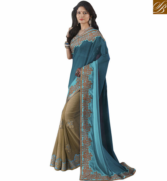 STYLISH BAZAAR FASHIONABLE EMBROIDERED GEORGETTE SAREE RTVID7154